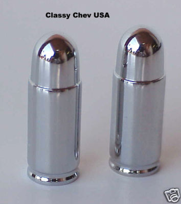 Short Bullet Valve Stem Caps - Chrome - 2 Pieces