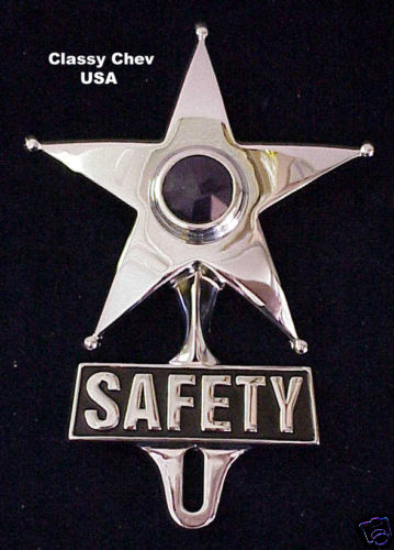 Safety Star License Plate Frame Topper - BLUE