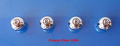 Large 8 Ball Chromed Valve Stem Covers - 4 Pieces