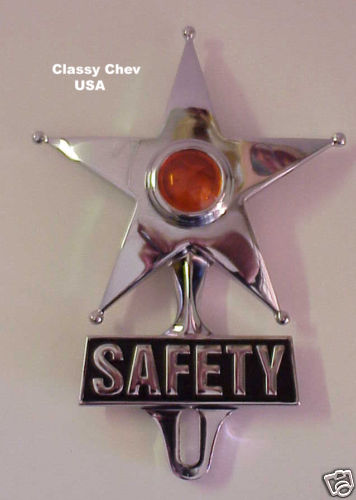 Safety Star License Plate Frame Topper - AMBER
