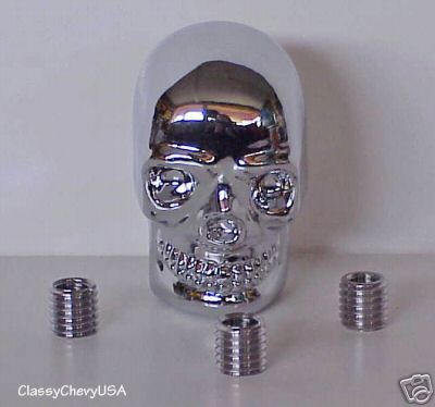 Large Chrome Skull Shift Knob with Adaptors