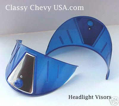 "BLUE Plastic Headlight Visors for 7"" Sealed Beam Headlights - PAIR"