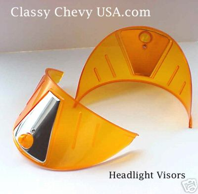 "AMBER Plastic Headlight Visors for 7"" Sealed beam Headlights - PAIR"