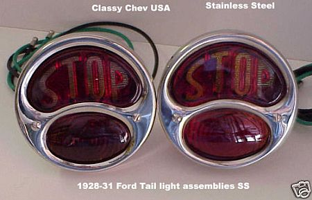 Model A Ford Tail Light Assembly STOP - Stainless 12 Volt - Pair