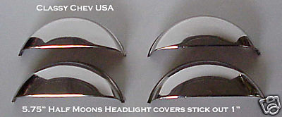 "5 3/4"" Half Moon Headlight Covers - Stainless - 1"" Out - 4 Pieces"