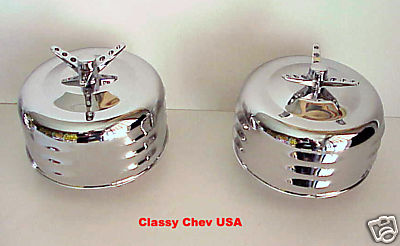 """Chrome Winged Bullet Air Cleaner 2 BBL 2 5/8"""" LV - 2 Pieces"""