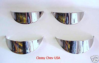 """5 3/4"""" Headlight Visors - Stainless Steel - Set of 4"""