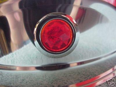 "7"" Red Jeweled Headlight Stainless Steel Visors for Sealed Beam Headlights - PAIR"
