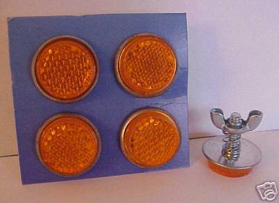 Amber Mini Reflectors License Plate Bolts - Set of 4