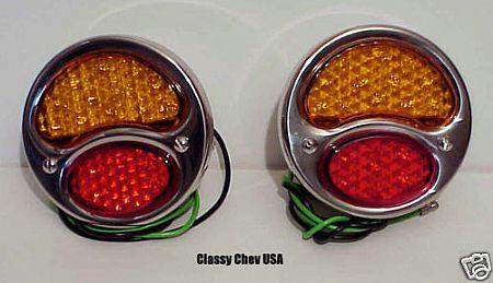 Ford Model A LED Tail Light Assembly Red/Amber - 6V - Pair