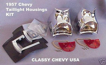 1957 Chevy Chevrolet Car Tail Light Housings Kit Bel Air