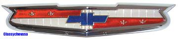 1956 Chevrolet Hood Emblem with Bezel - 6 Cylinder - TP1392