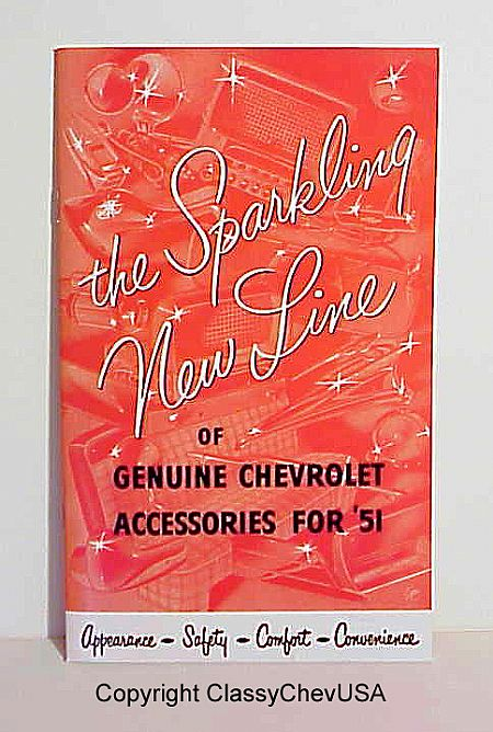 """The Sparkling New Line of Chevrolet Accesories for 1951"" Accessories Booklet"