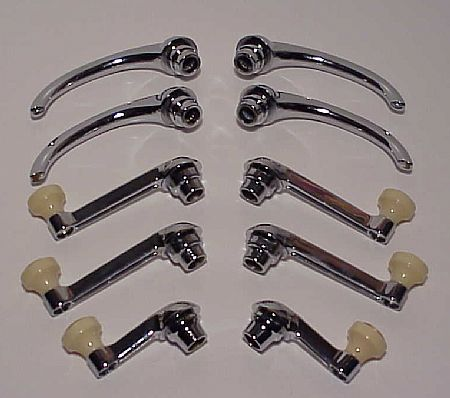 1942-48 Chevrolet Car Window Cranks, Handles, & Escutcheons for 4 Door - 10 Pieces