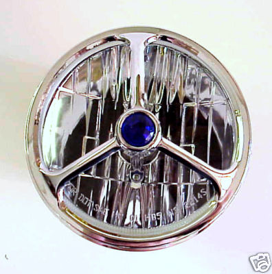 Lucas Style Tri Bar Headlight Covers Blue Dot Chevy