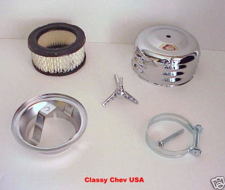 "Chrome Winged Bullet AIR CLEANER NEW 2 bbl 2 5/8"" LV"