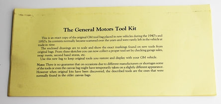 General Motors GMC Factory Tool Bag Reproduction 1PC