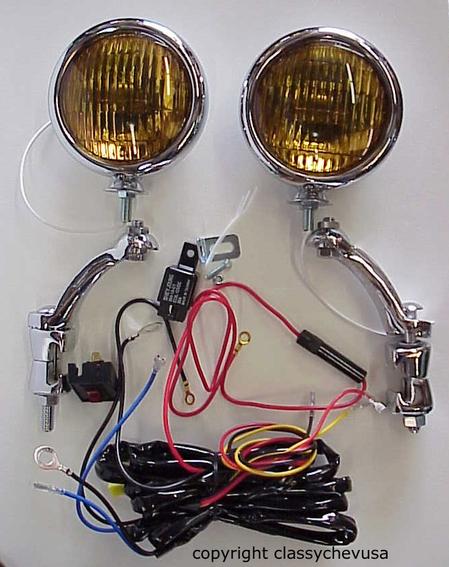 "KIT Amber 5"" Fog Lights w Chrome Brackets & wiring harness 12 VOLT"