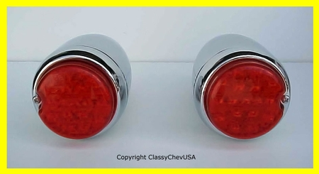 1939 Chevrolet Car Tail Light Assembly - LED - Chrome - PAIR