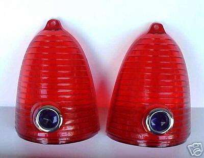 1955 Chevrolet Red Blue Dot Tail Light Lens - PAIR