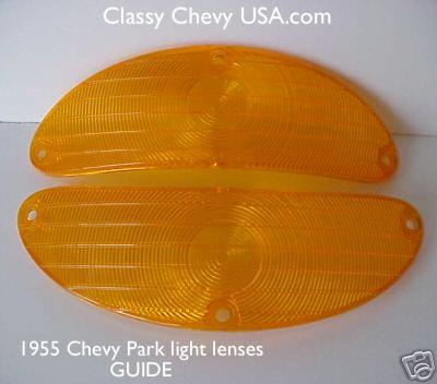 1955 Chevrolet Bel Air Amber Park Light Lenses - PAIR