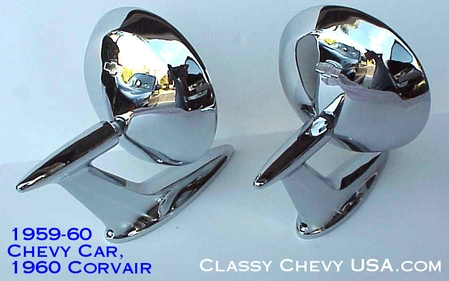 1959-1960 Chevrolet Car Rear View Mirrors - PAIR