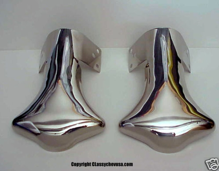 1932-1970 NEW Plain Exhaust Deflector Tips Stainless Steel PAIR