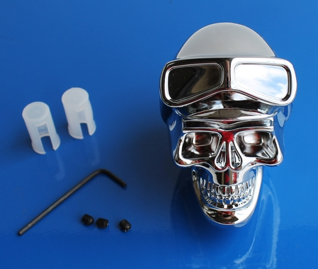 Skull Shift Knob with Goggles Chromed Metal