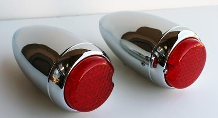 1939 Chevrolet Car Tail Light Assembly Red LED Chromed Housing PAIR L & R