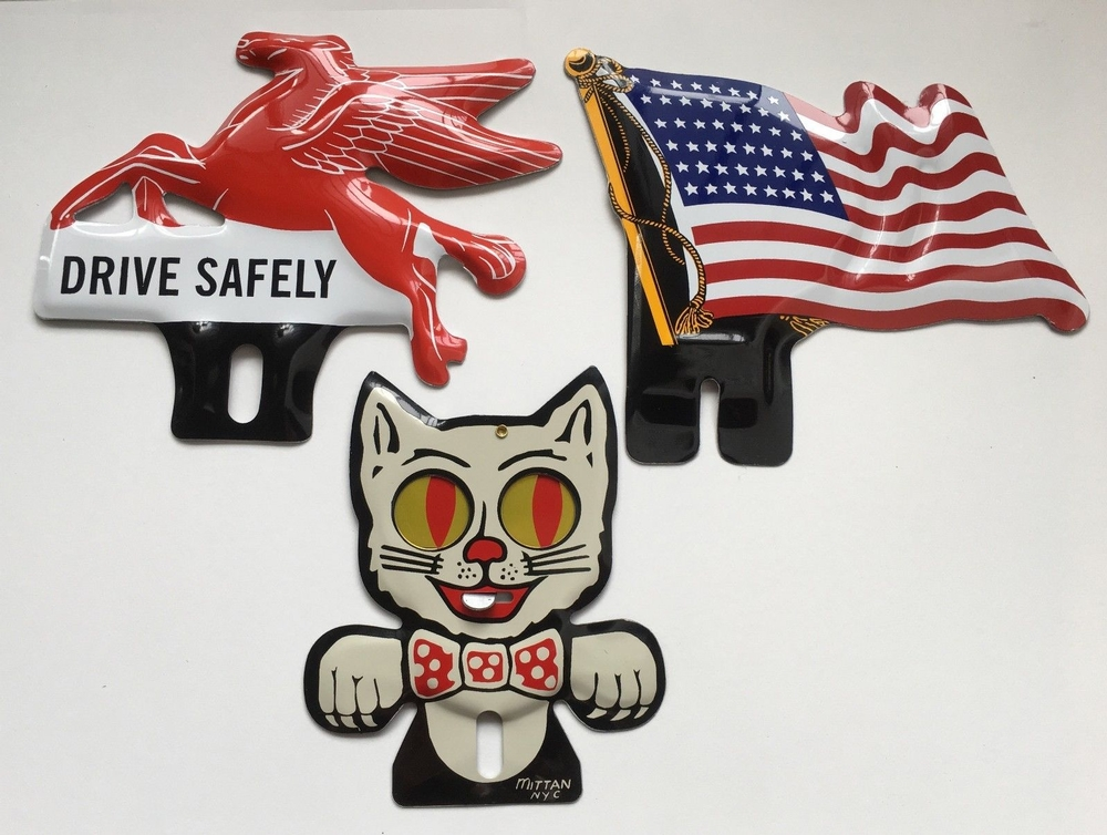 Set of 3 License Plate Toppers - 1 ea Cat Flag & Flying Horse USA made Aluminum