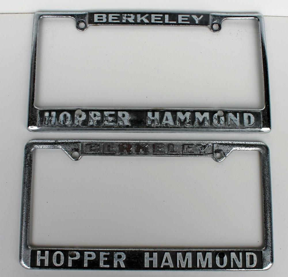 Hopper Hammond Berkeley, CA License Plate Frame PAIR 2 PC