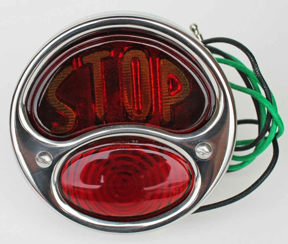 Motorcycle DELUXE Tail light STOP SS RIGHT 6 VOLT
