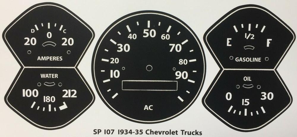 1934 - 1935 CHEVROLET Trucks Speedometer & Gauge Vinyl Decals set
