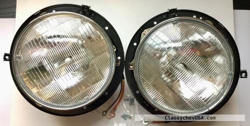 1955 1956 1957 CHEVROLET GMC TRUCK Headlight Bucket w/Halogen Beam Bulbs SET
