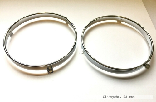 1966 1967 CHEVROLET GMC TRUCK Headlight Sealed Beam retaining ring PAIR
