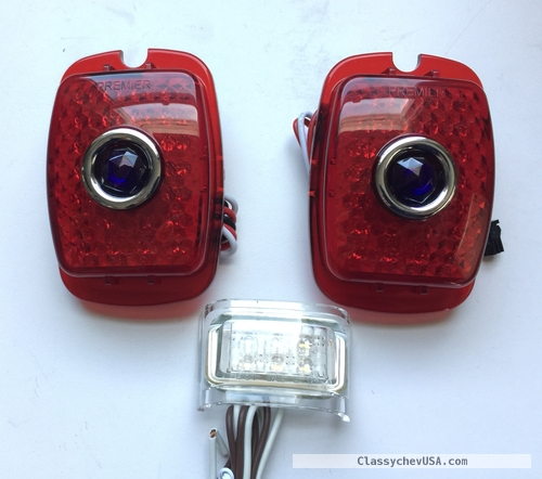 1937-38 Chevy CAR & 1940-53 Chevy Pick Up Truck LED w/ Blue Dot Tail Light SET