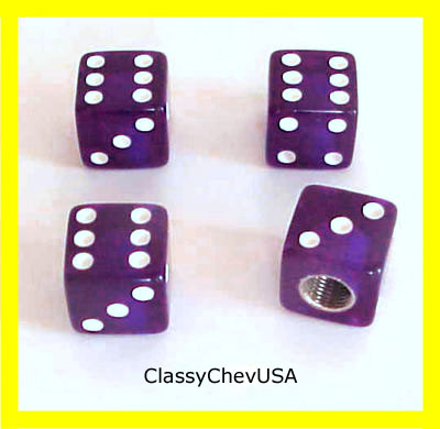 Purple Dice Valve Stem Covers - 4 Pieces