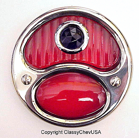 Ford Model A DELUXE Tail Light Assembly - Red w Blue Dot - Stainless