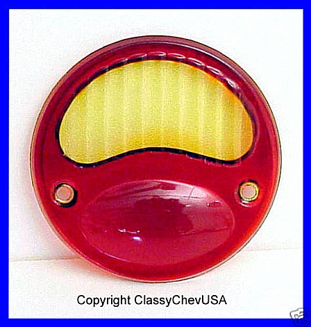 Model A Ford RED Glass w Amber Tail Light Lens