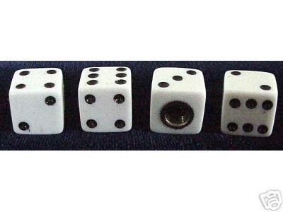 White Dice Valve Stem Caps - 4 Pieces