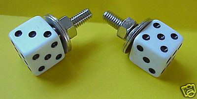 White Dice License Plate Bolts