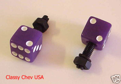 Purple Dice License Plate Bolts - 2 Pieces