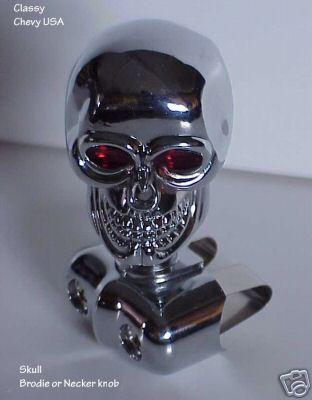 """Skull Brodie Necker Knob - Chrome - 2"""""""