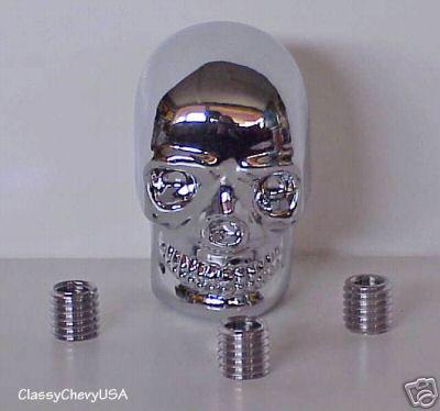 Large Chrome Skull Shift Knob with Adaptors