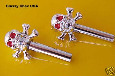Chromed Skull Door Lock Knobs - 2 Pieces