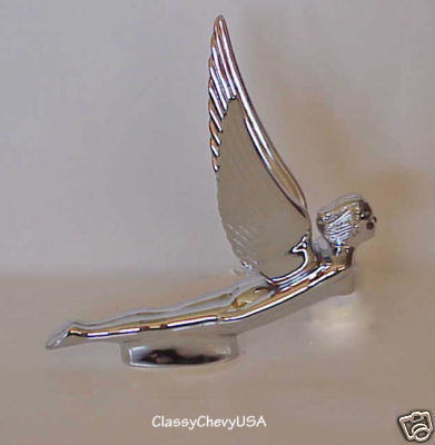 Chrome Hood Ornament Winged Goddess