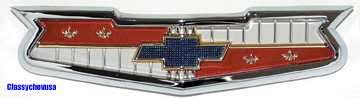 1956-1958 Chevy V-8 Hood Emblem & Assembly - TP1304