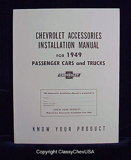 1949 Chevrolet Car & Truck Accessory Installation Manual