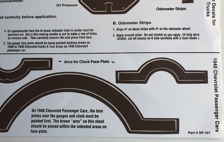 40-46 Chevrolet Truck Speedometer Gauge Decals